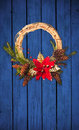 Christmas wreath on wooden door Royalty Free Stock Photo