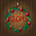 Christmas wreath on wooden texture vector illustration of wreathon eps opacity Stock Images