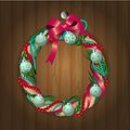 Christmas wreath on wooden texture vector illustration of wreathon eps opacity Royalty Free Stock Photo