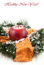 Christmas wreaths with apple Royalty Free Stock Photo