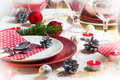Christmas xmas eve table setting supper festive decorations and dishes Royalty Free Stock Photo