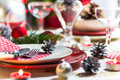 Christmas xmas eve table setting supper festive decorations and dishes Stock Photography