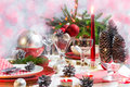 Christmas xmas eve table setting supper festive decorations and dishes Stock Photos