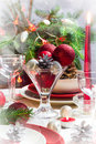 Christmas xmas eve table setting supper festive decorations and dishes Royalty Free Stock Images