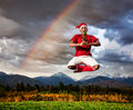 Christmas yoga Stock Images
