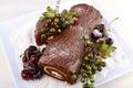 Christmas Yule Log Cake. Royalty Free Stock Photo