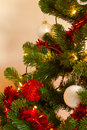 Christmass tree with decorations and lights Royalty Free Stock Photo