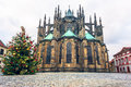 Christmass tree and St. Vitus cathedral in Prague Castle Royalty Free Stock Images