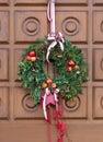 Christmassy door wreath Royalty Free Stock Photo