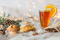 Christmassy table with tea glass Royalty Free Stock Photo