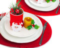 Christmastime table setting Stock Images