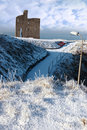 Christmasy view of ballybunion castle Stock Image