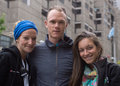 Christopher froome with gpcqm staff members montreal canada september upon arriving in for second leg of uci sanctioned Royalty Free Stock Photos