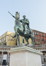 Chrles iii borbone statue in naples italy equestrian of charles plebiscito s square Royalty Free Stock Images
