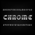 Chrome alphabet font. Metallic effect oblique letters and numbers on a dark background.