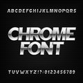 Chrome alphabet font. Metallic effect sans serif letters and numbers on a dark background.