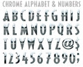 Chrome Alphabet and Numbers Royalty Free Stock Photo