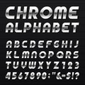 Chrome alphabet vector font type letters numbers and punctuation marks metal effect italic letters on dark background Royalty Free Stock Photos