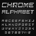 Chrome alphabet vector font type letters numbers and punctuation marks metal effect italic letters on dark background Stock Photos