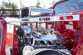 Chrome for days on out hot rod red with lots of Royalty Free Stock Photo