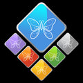 Chrome Diamond Icons - Butterfly Royalty Free Stock Photography