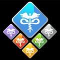 Chrome Diamond Icons - Caduceus Royalty Free Stock Photo