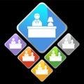 Chrome Diamond Icons - Desk Royalty Free Stock Photo