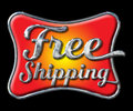 Chrome Free Shipping Lettering on black