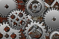 Chrome gears on grunge texture background silver metal Stock Image