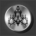 Chrome knob with silhouette of luxury chandelier Royalty Free Stock Images