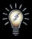 Chrome Light Bulb with Lightning Bolt on black Royalty Free Stock Photo