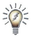 Chrome Light Bulb with Lightning Bolt on white Royalty Free Stock Photo