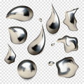 Chrome metal droplet set realistic  on white background Royalty Free Stock Photo