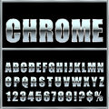 Chrome metal font and symbols for design. Royalty Free Stock Photo