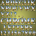 Chrome metal letters an alphabet sit of shiny and numbers Stock Photo