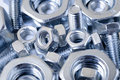 Chrome nuts and bolts Stock Photos