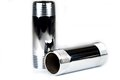 Chrome pipe tube with a screw top and bottom Royalty Free Stock Photography