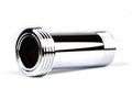 Chrome pipe tube with a screw top and bottom Royalty Free Stock Photo