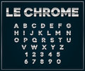 Chrome Silver Metallic Font Set. Letters, Numbers. Royalty Free Stock Photo