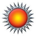 Chrome Sun with Orange Center on white