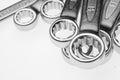 Chrome-Vanadium Wrenches of Different Sizes. Royalty Free Stock Photo