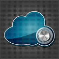 Chrome volume knob with cloud plate Royalty Free Stock Photo