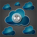 Chrome volume knob with transparency clouds Stock Images