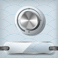 Chrome volume knob with transparency plate on the blue waved background Stock Image