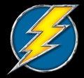 Chrome Yellow Lightning Bolt in Blue Circle on black