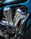 Chromed motorbike V2 engine Royalty Free Stock Photo