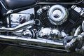 Chromed motorcycle engine Stock Image