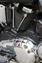 Chromed powerful engine motorcycle motor Royalty Free Stock Photo