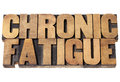 Chronic fatigue in wood type isolated text vintage letterpress printing blocks Stock Photo