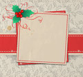 Chrrpoinseupitrg christmas background label decorated with holly berry and ribbon on patterned background with hand drawn holly Royalty Free Stock Images